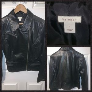 Halogen Soft Black Leather Jacket Women's Size L